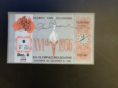 Melbourne Olympic Games 1956 Ian Brown Autographed Cycling Ticket Dec 6