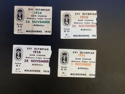Melbourne Olympic Games1956 Four Athletics Tickets Stub .....Small Size...Rare.