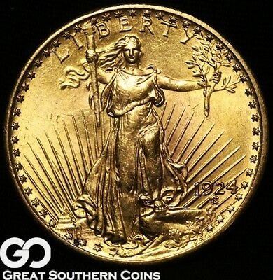 1924 Double Eagle, $20 Gold St. Gaudens, Near Gem BU, Very Nice ** Free Shipping