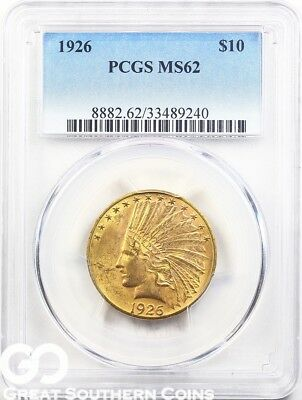 1926 PCGS Gold Eagle, $10 Gold Indian PCGS MS 62 ** Free Shipping!