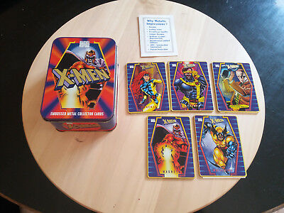 Box Embossed Metal Collector Card X-Men + set of 5 Trading Cards