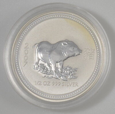2007 Australia 1/2 Ounce Silver Lunar Year of the Pig in Original Issue Capsule
