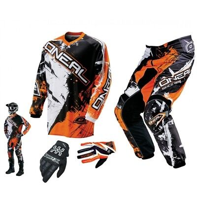 ONEAL Element Shocker orange Combo & Handschuhe Motocross Enduro