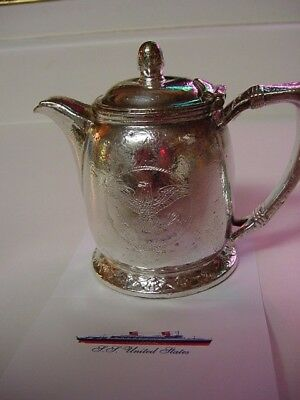 SS UNITED STATES LINES  Silver Tea Pot  /  Good Cond.  /  International Silver