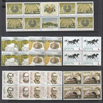 LITHUANIA 2005 issues in block of 4 plus 4 x miniature sheets, Mint Never Hinged