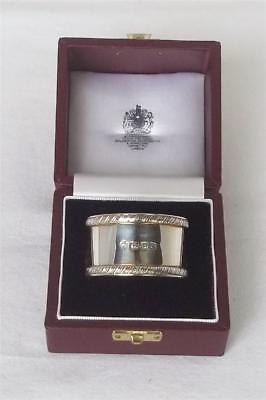 A Superb Boxed & Leather Cased Solid Sterling Silver Napkin Ring By Asprey 1988.