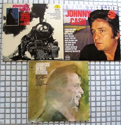3 LP's JOHNNY CASH/ I WALK THE LINE / The Walls of a Prison / Story songs of Tra