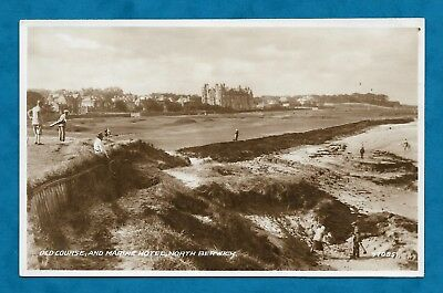 C1930s RP PC OLD COURSE & MARINE HOTEL NORTH BERWICK LADY GOLFER IN SAND! GOLF