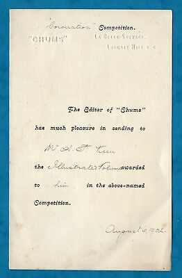 """1902 Letter From """"chums"""" Comic Paper To A Winner Of The """"coronation Competition"""""""