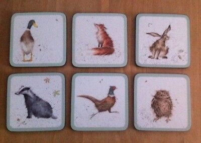 Pimpernel Wrendale Designs Set of 6 Coasters Hare, Duck,Fox,Owl,Badger,Pheasant