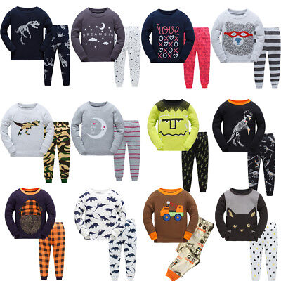 Cotton Boys Cartoon Sleepwear Outfits Kids Toddlers Nightwear Pj's Pyjamas Sets