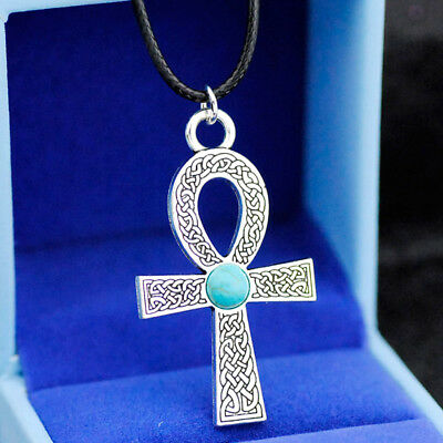 Fashion Turquoise bead Alloy Ancient Egyptian Ankh Pendant necklace