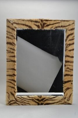 Large Old Wooden Backed Mirror with Exotic Skin / Fur Facing. Ref ITDJ