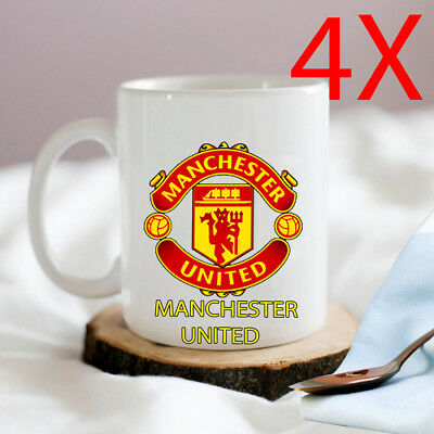 4 X Manchester United Fc Logo Mug Coffee Tea Cup Kitchen Gift Ceramic Man Utd