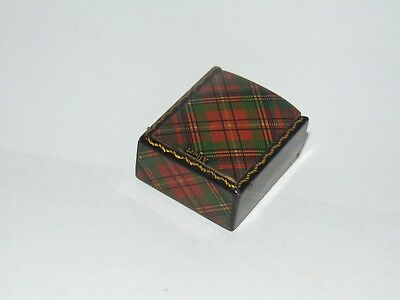 Sweet Little Antique Albert Tartan Tartanware Postage Stamp Box Mauchline Ware