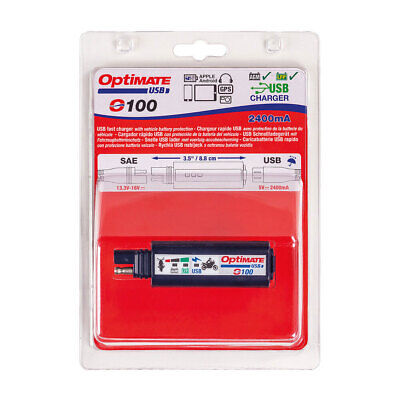 Optimate O-100 SAE USB Fast Charger Lead 2400mA, Sat Nav, iPhone, Motorcycle