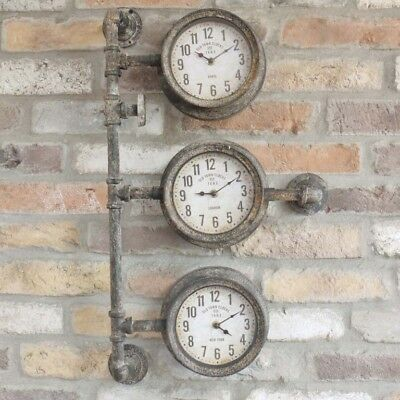 Industrial Clock With 3 Faces Distressed Finish Wall Mountable Timepiece Decor