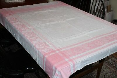 Vintage Pink And White Cotton Damask Tablecloth 50x52 Roses