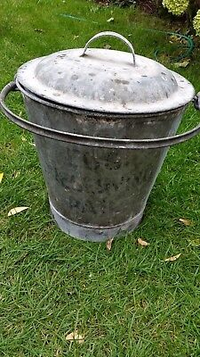 """Vintage """"egg Preserving""""galvanized Metal Pail With Lid & Carrying Handle"""