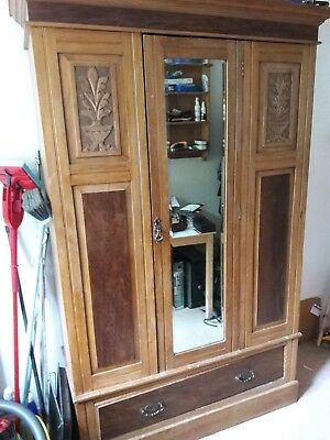 Large Victorian/Edwardian Mirrored Wardrobe/Armoire Art nouveau/Arts & Crafts