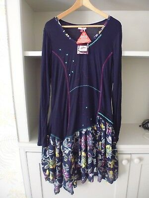 Joe Browns Navy Blue And Floral Long Sleeve Jersey Tiered Dress - Size 16 - New