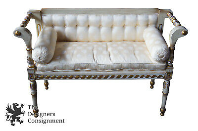 French Provincial Louis Style Love Seat Bench Settee White Tufted Gilded Carved