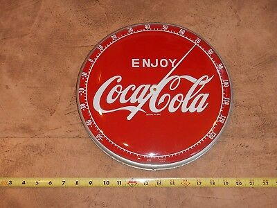 ORIGINAL 1960s COCA COLA THERMOMETER, ENJOY, GLASS FRONT, 12 INCHES