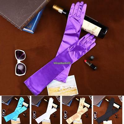 Women Solid Satin Long Opera Gloves Costume Wedding Bridal Evening Party EH7E 02