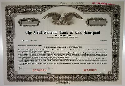 OH. First National Bank of East Liverpool, 1951 Specimen Stock Certificate, XF