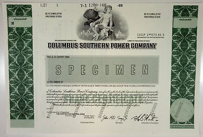 OH. Columbus Southern Power Co., 1989 Odd Shrs Specimen Stock Certificate, XF