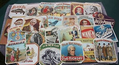 Lot of 62 Circa 1900 Embossed Cigar Box Labels, Variety ~ Minty
