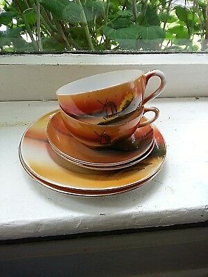 Vintage Antique Made In Japan Hand Painted Tea Demitasse Cups Saucers Plates