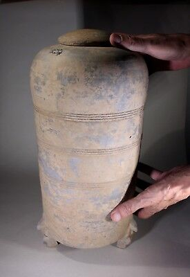 Antique Large Chinese Han Dynasty Pottery Granary Jar & Cover