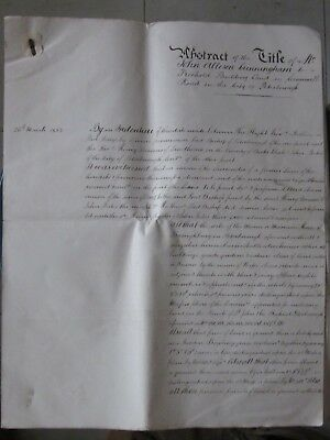 "Antique ""abstract Of The Title"" Document. 1853. Peterborough. U.k."