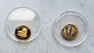 2 American Mint 14K Mini Gold Coins Abe Lincoln & The Baptism of Christ