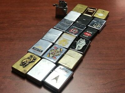 Lot of 18 Vintage Zippo Lighters + 1 insert