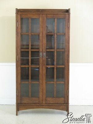 45148EC: Mission Style Arts & Crafts Solid Oak 2 Door Bookcase