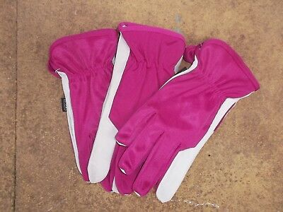 Briers Ladies Soft & Strong Leather Garden Gloves, Medium size 8 x 3 pairs Pink