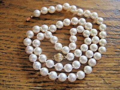 """Classic Genuine 5 - 6 Mm Silver White Pearl Necklace 14K Clasp Vintage 19"""" Long"""