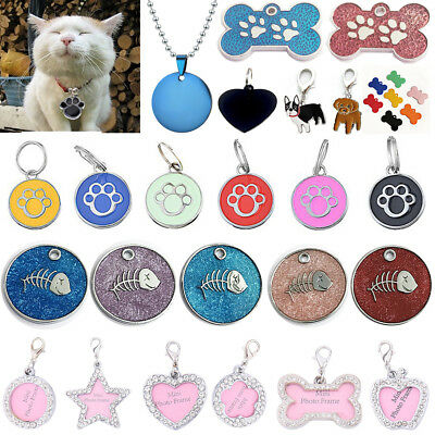 Personalized Dog Tags Cat Puppy Pet ID Name Collar Tag Bone/Paw Glitter