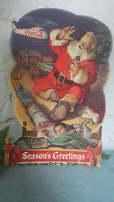 Authentic Cardboard SANTA Coca Cola Poster Helicopter Trains Christmas Cutout
