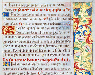 MEDIEVAL ILLUMINATED MANUSCRIPT BOOK OF HOURS LEAF c1470 GOLD, PRAYERS TO SAINTS