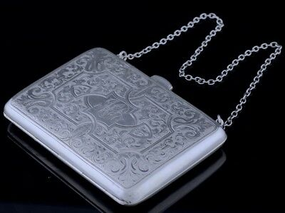 EXCELLENT c1910 RODEN BIRKS STERLING SILVER FANCY ETCHED WALLET PURSE w NOTE PAD