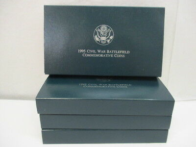 4 U.S. Modern Civil War Commemorative Silver Dollar Coins 1995