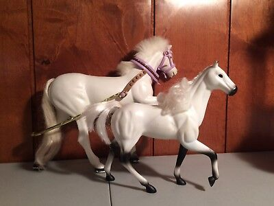 Lot of 2 Small Doll (Barbie type) Accessory - Horses