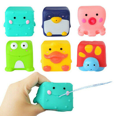 6pcs/set Kids Silicone Cartoon Animals Washable Bathing Toy Water Squirters S