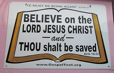 "Vintage "" YE MUST BE BORN AGAIN "" 24"" x 16"" Metal Church Sign Believe Lord Jesus"