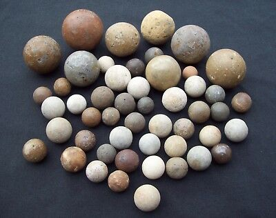 Dug Large Lot of 50 Marbles Ceramic and Stone 1500's - 1800's