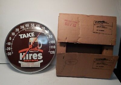 Take Hires Root Beer Advertising Thermometer W/ Glass Cover & Rare Original Box!