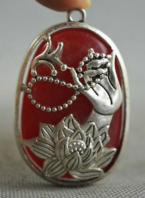 Chinese Collectable Decorate Miao SIlver Buddha Hand Lotus Inlay Agate Pendant
